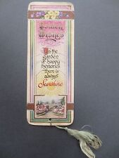 Vintage Christmas Greetings BOOKMARK Golden Wishes In the Garden Happy Memories