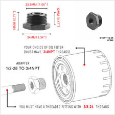 1/2-28 to 3/4-16, 13/16 and 3/4 NPT Threaded Adapter Car Automotive Oil Filter