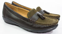 Hotter Comfort Abbeyville Brown Green Leather Tassel Loafer Shoes Size 7 1/2