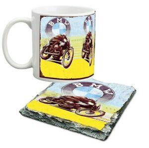 10 oz BMW bike porcelain mug and slate coaster set