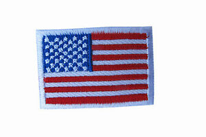 """American Flag,US Flag White Border Embroidery Iron On Patch-Small 1 5/8"""""""