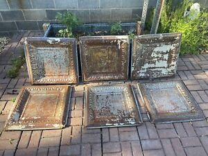 "Antique Metal Tin Ceiling Tiles 24""X 24"" Panel Vintage Authentic Lot Of 6"