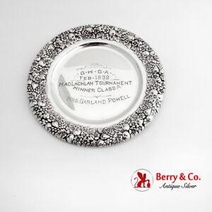 Womens Golf Trophy Bread Plate Floral Border International Sterling Silver 1939