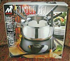 NEW IN BOX METRO Fondue Set Stainless & Black Portable CAMPING Fun