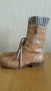 CHANEL Leather Light Brown Combat Boots Knitted Tweed Detail Size 39.5; US9