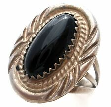 Sterling Silver Black Onyx Ring Size 5 Vintage Boho Jewelry 925 Gemstone Rings