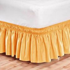 Elastic Bed Skirt Dust Ruffle Easy Fit Wrap Around Yellow Color Full Size
