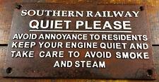 SOUTHERN RAILWAY QUIET PLEASE NO SMOKE STEAM CAST IRON RAILROAD PLAQUE SIGN