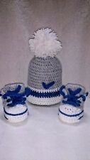 BABY CROCHET SHOES AND HAT MADE TRAINERS GREY,ROYAL BLUE,WHITE POM POM