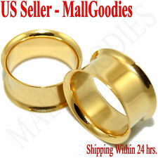 """1122 Gold Double Flare Tunnels 3/4"""" Inch Ear Plugs 20mm"""