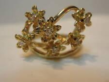 ESTATE  CUSTOM MADE 10K YELLOW GOLD DIAMOND FLOWER RING