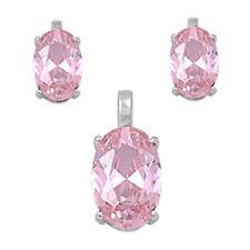 OVAL CUT PINK TOPAZ .925 Sterling Silver Earring & Pendant Gift Set