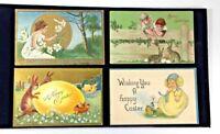 Set 4 Antique Easter Post Cards Easter Bunnies Rabbit Chicks Children Flowers