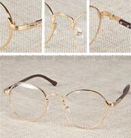 Retro Vintage Oval Gold Eyeglass Frame Man Women Plain Glass Clear Full-Rim Gold
