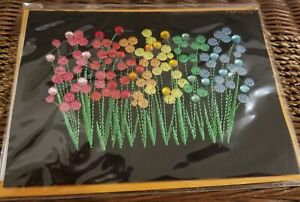PAPYRUS EMBROIDERED FIELD OF FLOWERS GEMMED BOUQUETS BLANK ALL OCCASIONS CARD