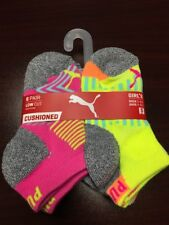 PUMA Little Girl Cushioned Low Cut Socks, Shoe Size 4-8.5 Gray/Multi-color