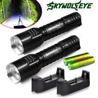 2 x Skywolfeye 10000Lumen CREE T6 18650 LED Flashlight Police Zoom Torch+Charger