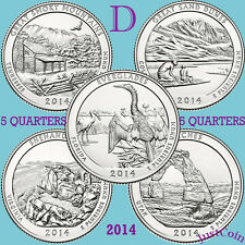 2014-D NATIONAL PARK FIVE QUARTERS YEARLY COMPLETE SET UNCIRCULATED U.S.MINT