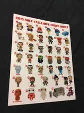 """8.5"""" X 11"""" Funko POP Poster 2015 SDCC Comic Con Order Sheet Exclusive"""