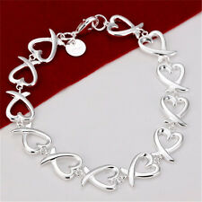 Hot Wholesale Fashion Jewelry 925silver Christmas Gifts Charm Hearts Bracelets