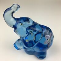 Fenton Turquoise White Floral Hand Painted Foot Up Elephant