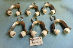 """SWIVEL HOOK DOOR CURTAIN TRACK ROLLERS, DBL 1"""" ROLLERS, HEIGHT 5-1/4"""" LOT OF 6"""