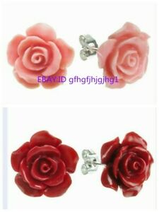 Pretty 2 Pair 12mm Pink / Red Coral Rose Flower Silver Stud Earring