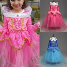 Kids Girl Sleeping Beauty Princess Aurora Cosplay Costume Birthday Party Dress