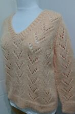 Ladies Hand Knit Peach V Neck Jumper Sz 14-16