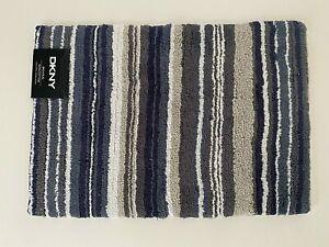 "DKNY Bathroom Rug Mat Navy Blue Gray Stripes 17"" x 24"" or 20"" x 32"" Cotton"