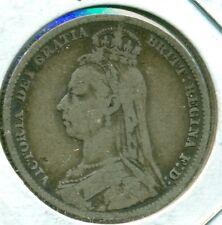 1890 UK/GB SHILLING, FINE+, GREAT PRICE!