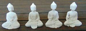 Set of 4 Small white Miniature Thai Buddha Ornaments Spiritual Gift set H5cm