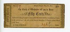 County Of Washington Abingdon Virginia Fifty Cents 1862