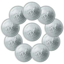 2018 1 oz South African Silver Krugerrand Coin (BU, Lot of 10)