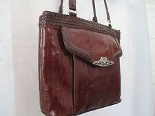 M C Marc Chantal Brown Faux Leather Croc With Silver Scroll Heart Purse Handbag