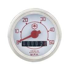 VESPA Redondo Speedo/Velocímetro 50mph Blanco Cara/texto rojo V50/V90/V100