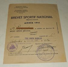 BREVET SPORTIF NATIONAL Année 1941 - Etoile sportive Colombienne Marie COLOMBES