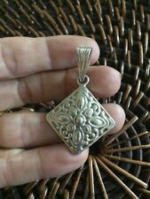 Genuine Sterling Silver 925 Floral Scroll Diamond Shaped Pendant