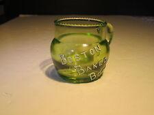 Antique Boston Baked Beans Green Vaseline Advertising Handled Mug Cup