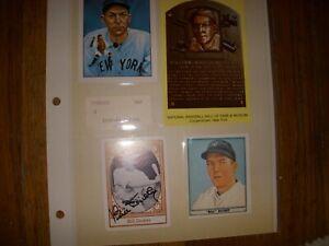 NY YANKEE HOF BILL DICKEY HAND SIGNED AUTOGRAPH CARD AND 2 MORE BASEBALL CARDS