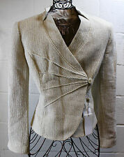 $1075+ ARMANI Collezioni Beige Ivory Sparkle Tweed Wool Blazer Jacket 14 L New