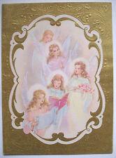 Angel Choir singing CHRISTMAS VINTAGE GREETING CARD *e