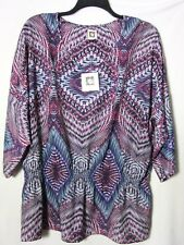 NWT Anne Klein Woman 1X Blouse Print Geometric Tribal Unique NEW Cat Rescue