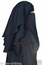 Hayaa 3 Layers Fluttery Butterfly Black Saudi Niqab Hijab Islamic Clothing
