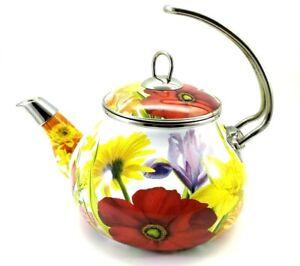 Pioneer Woman Enameled Steel Flower Garden Tea Pot Kettle Floral Retired READ!