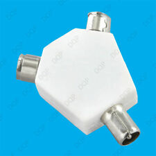 1x Coaxial 2 Way Aerial Cable Y Splitter TV/FM Freeview Male to 2x Female Coax