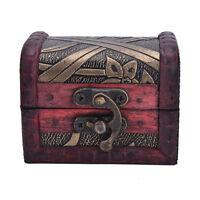 Vintage Jewelry Lock Necklace Bracelet Storage Organizer Wooden Case Gift Box
