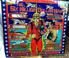 VINTAGE SIX MILLION DOLLAR MAN BALLY REPLACEMENT ORIGINAL BACKGLASS bally 1978