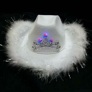 COWBOY HAT WHITE FELT WITH WHITE FUR FLUFF AND LIGHT-UP TIARA GREAT PARTY HAT