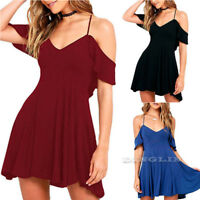 Women's V Neck Spaghetti Strap Pleated Off Shoulder Party Cocktail Dress CHK